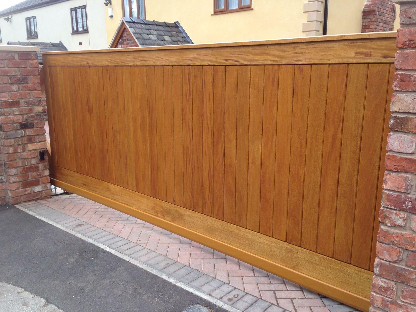 auto timber driveway gate